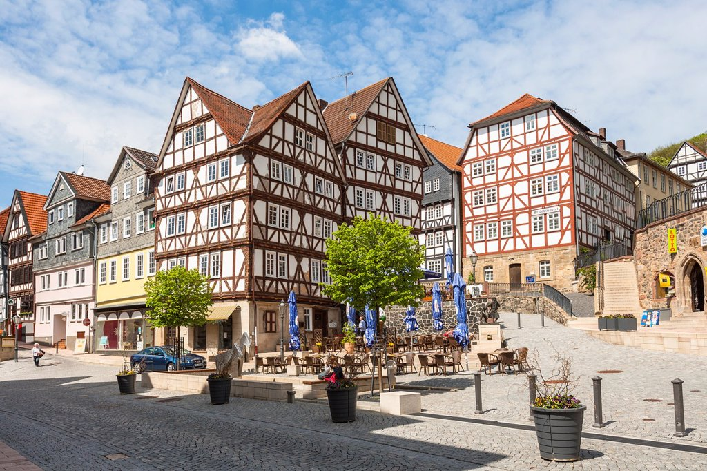 Traditional houses at the market square in Homberg Efze on the German Fairy Tale Route, Hesse, Germany, Europe : Stock Photo