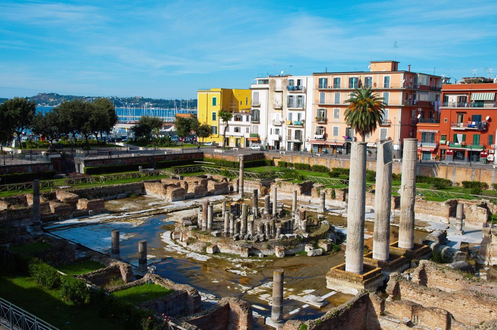 Stock Photo: 1566-1185350 Tempio di Serapide a Roman era Macellum the market place central Pozzuoli the ancient Puteoli in Campi Flegrei area La Campania region southern Italy Europe