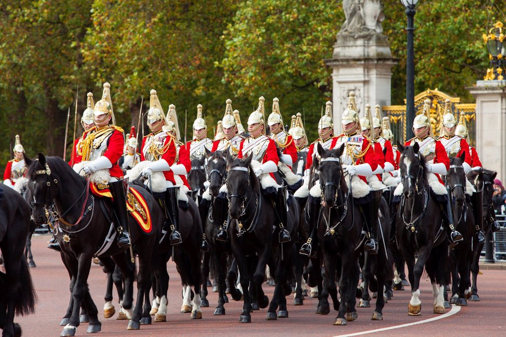 Stock Photo: 1566-1185631 Members of the Household Cavalry - the Life Guards at Buckingham Palace, London England, UK