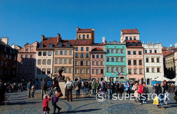 Crowded landmark of Main Old Town Main Square Warsaw Poland : Stock Photo