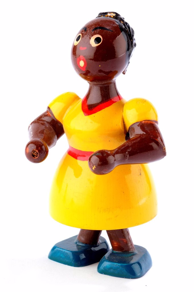 Antique toys  Collecting  Polychrome wooden doll : Stock Photo