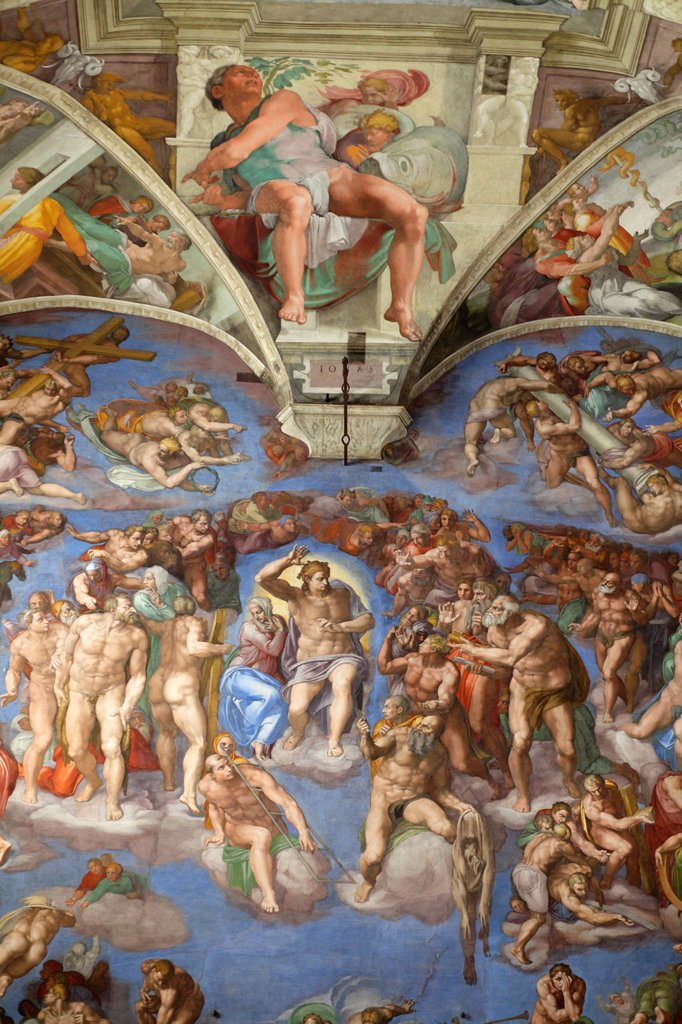 Stock Photo: 1566-1185984 The Last Judgement by Michelangelo at the Sistine chapel, Vatican, Rome, Italy
