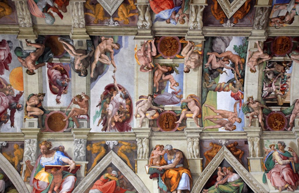 Stock Photo: 1566-1185987 The Sistine chapel by Michelangelo, Vatican, Rome, Italy