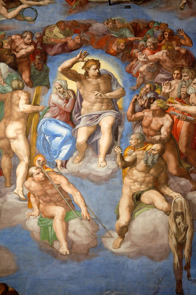 Stock Photo: 1566-1185990 The Last Judgement by Michelangelo at the Sistine chapel, Vatican, Rome, Italy