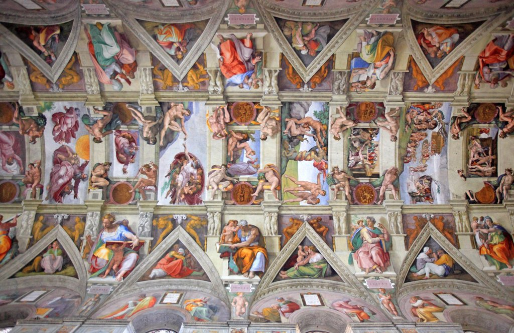 Stock Photo: 1566-1186604 The Sistine chapel by Michelangelo, Vatican, Rome, Italy
