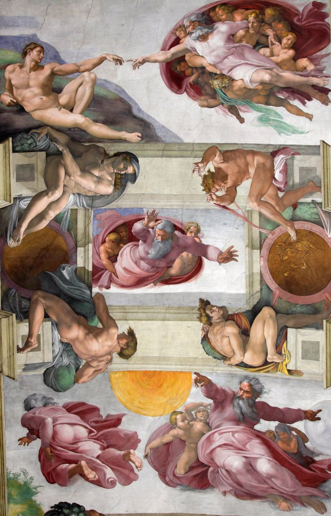 The Creation of Adam by Michelangelo at the Sistine chapel, Vatican, Rome, Italy : Stock Photo