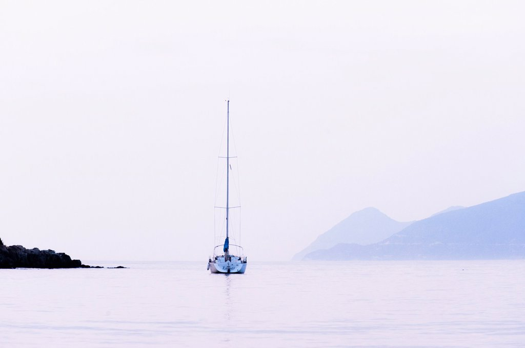 Stock Photo: 1566-1186639 Europe, France, Haute Corse 2B  Saint Florent, anchored boat