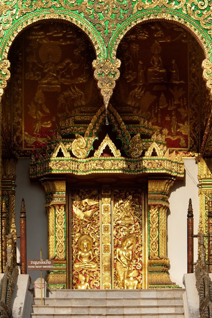 Stock Photo: 1566-1186665 Ornate gold doors of former Royal Palace in Luang Prabang Laos PDR