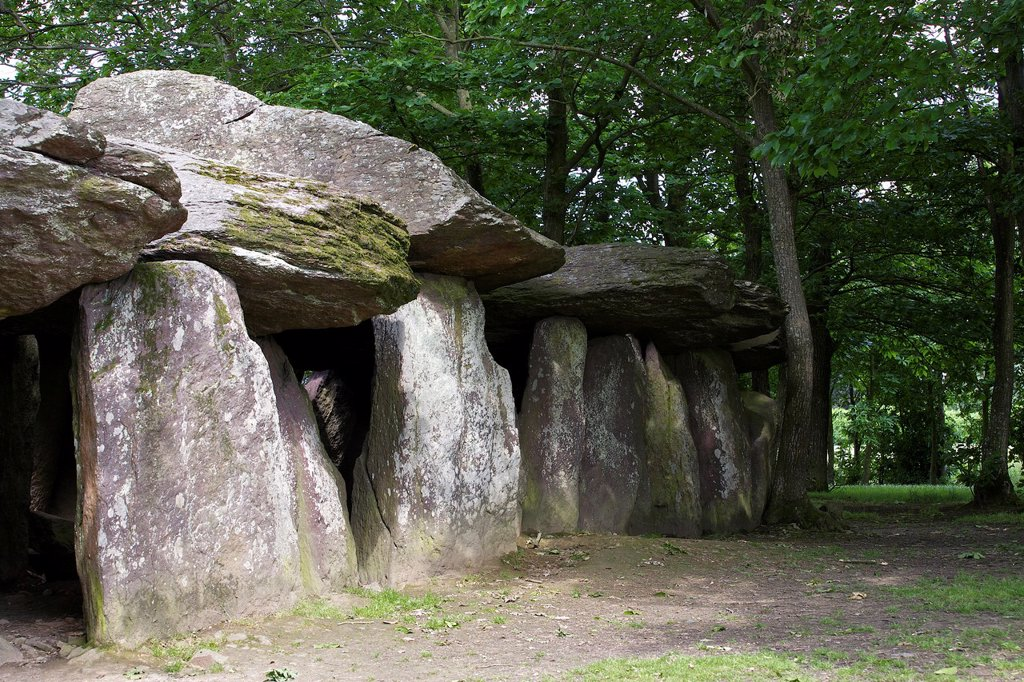 Stock Photo: 1566-1186693 fees to the rock is a megalith of 19 meters long, for a total mass of approximately 45 tons, common essé, Ille et Vilaine, Brittany, France