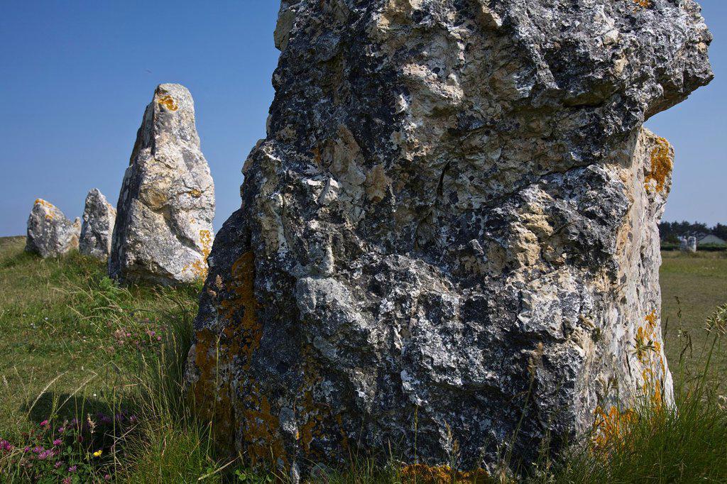 Lagatjar alignments, Crozon peninsula, Finistere, Brittany, France : Stock Photo