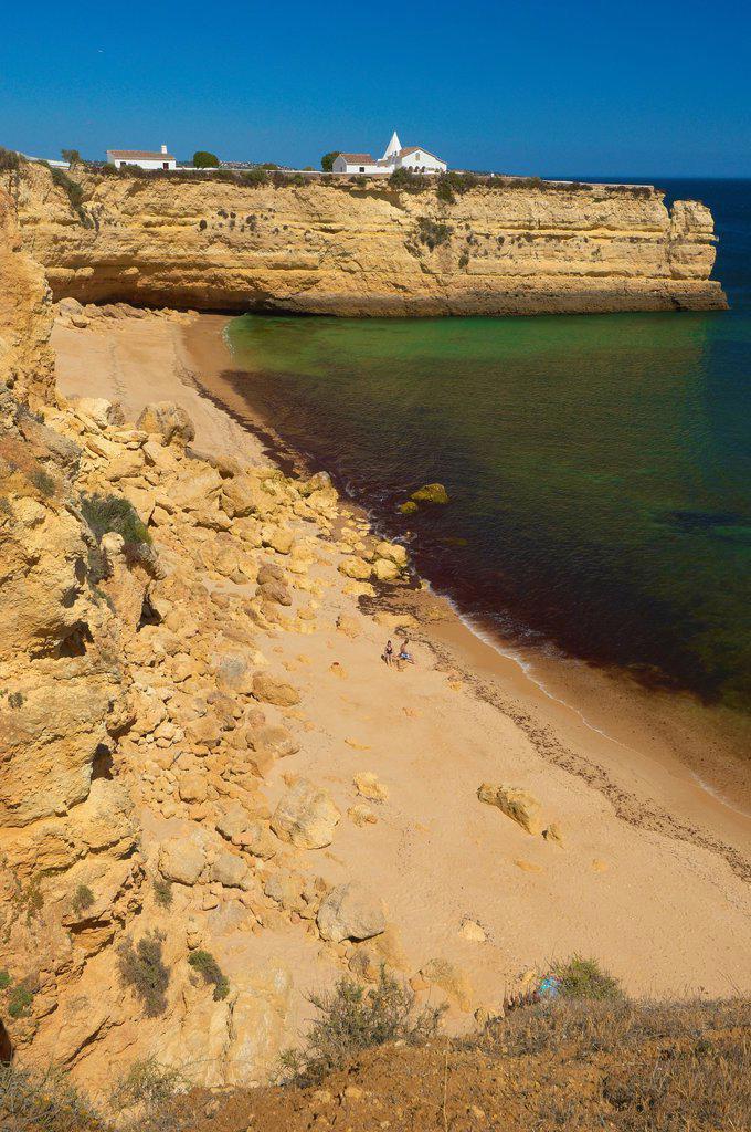 Nossa Senhora da Rocha Chapel, Beach Nossa Senhora da Rocha, Armaçao de Pera, Algarve, Portugal. : Stock Photo