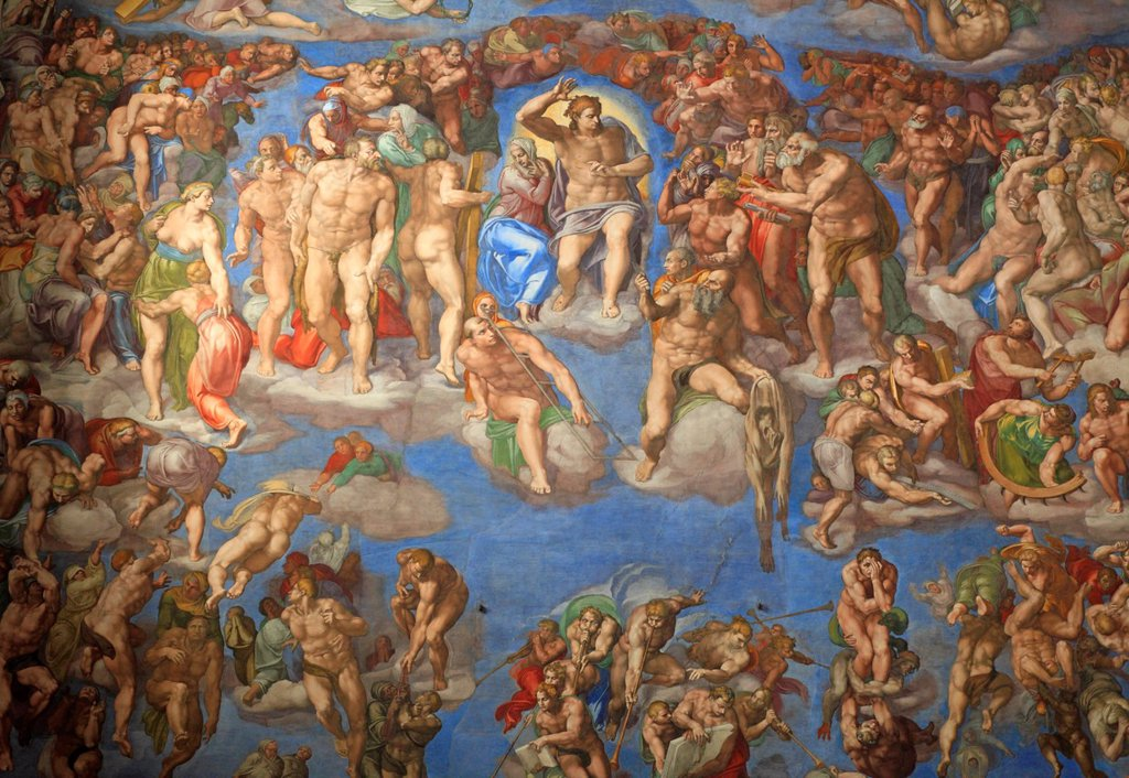 Stock Photo: 1566-1187250 The Last Judgement by Michelangelo at the Sistine chapel, Vatican, Rome, Italy