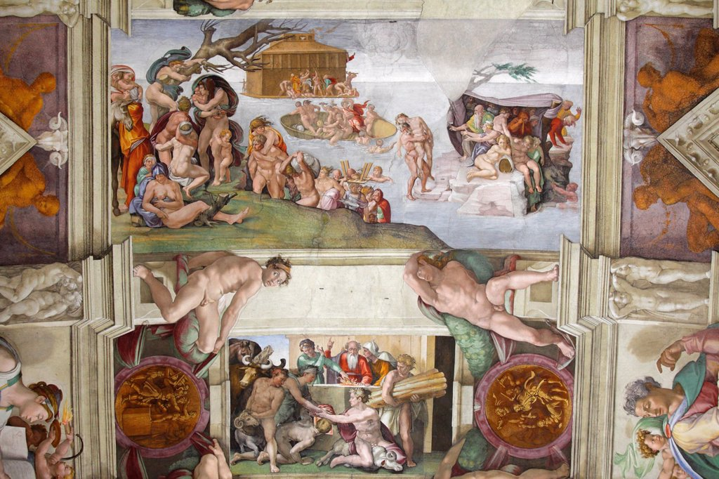 Sacrifice of Noah at Sistine chapel by Michelangelo, Vatican, Rome, Italy : Stock Photo