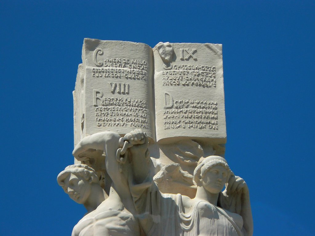 Cadiz Spain  Detail of the Monument to the Cortes of 1812 in the city of Cadiz, : Stock Photo