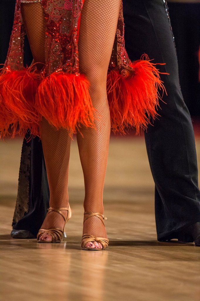 Stock Photo: 1566-1188103 Close up of a female dancer´s legs at a dancing competition, Germany, Europe