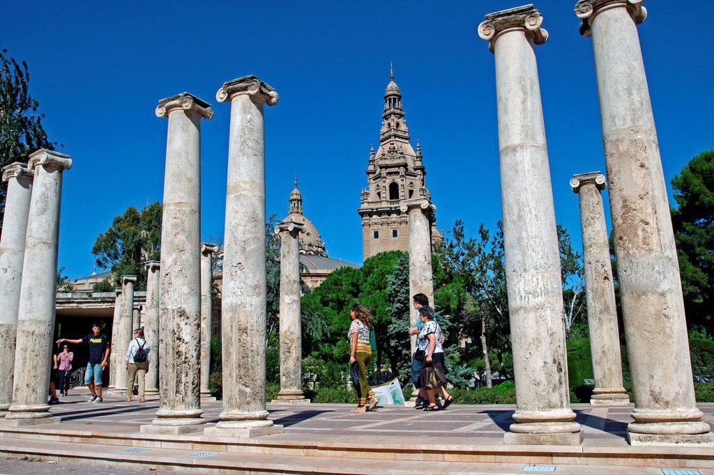columns, amphitheater, Joan Maragall Gardens, Montjuic, Barcelona, Catalonia, Spain : Stock Photo