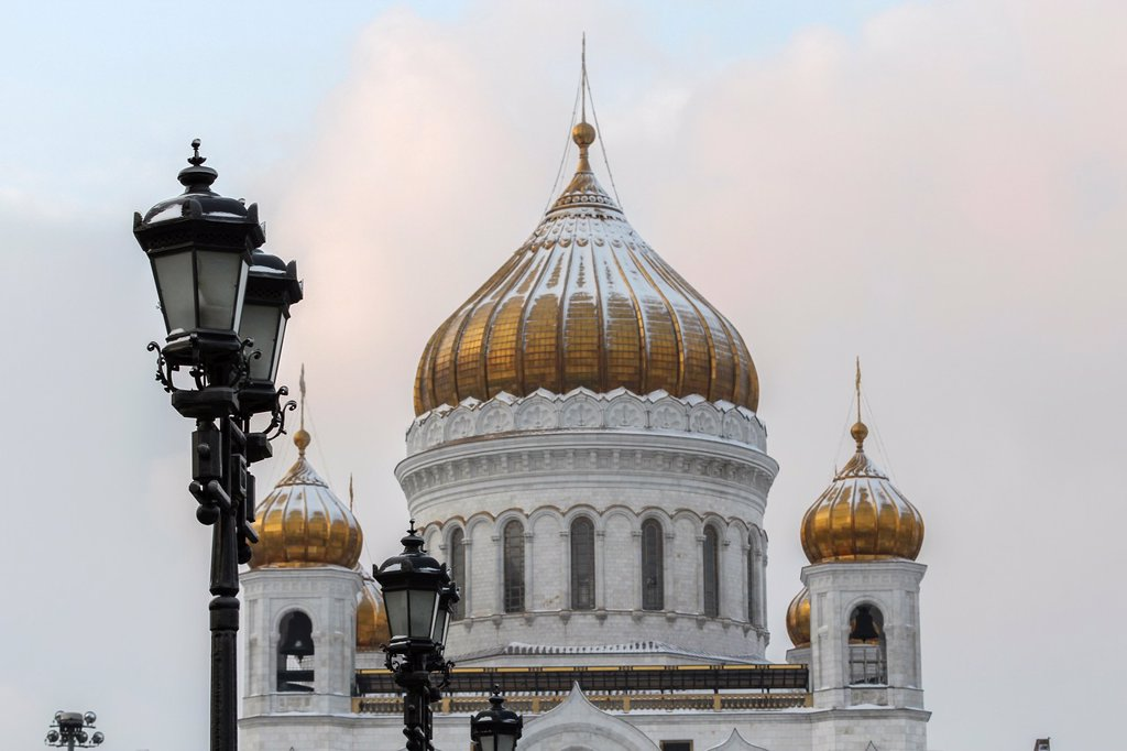 Cathedral of Christ the Savior´s golden domes Moscow Russia : Stock Photo