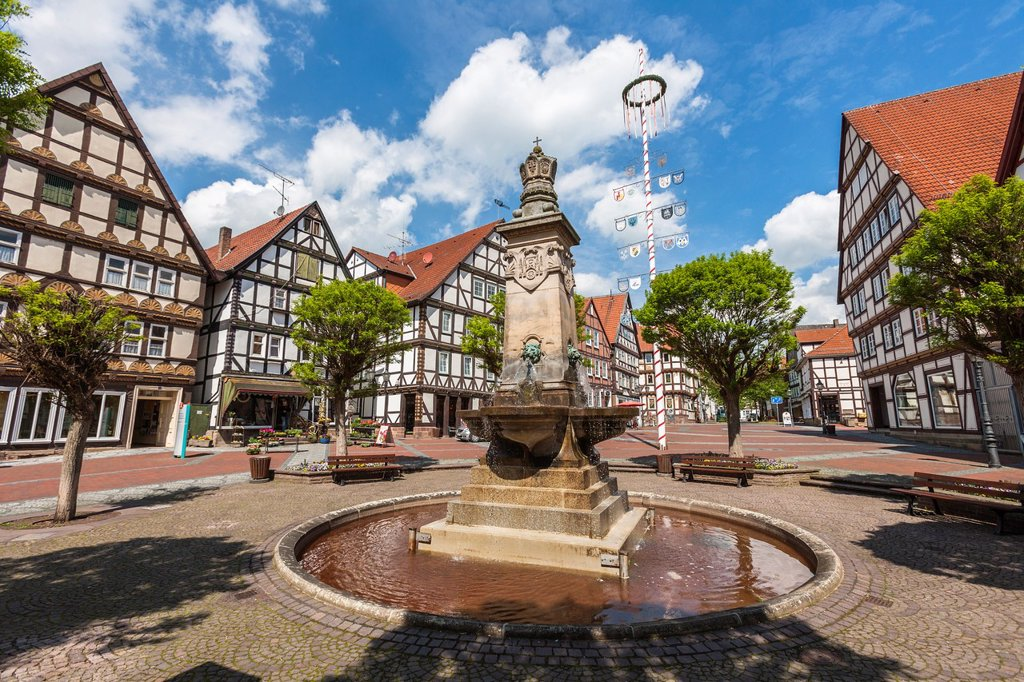 Market square in Hofgeismar on the German Fairy Tale Route, Hesse, Germany, Europe : Stock Photo