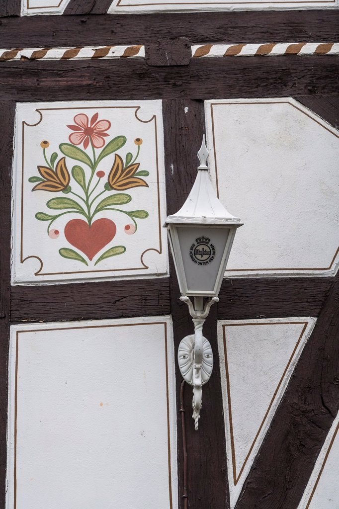 Detail of a timbered house with a lantern, Ziegenhain, Hesse, Germany, Europe : Stock Photo