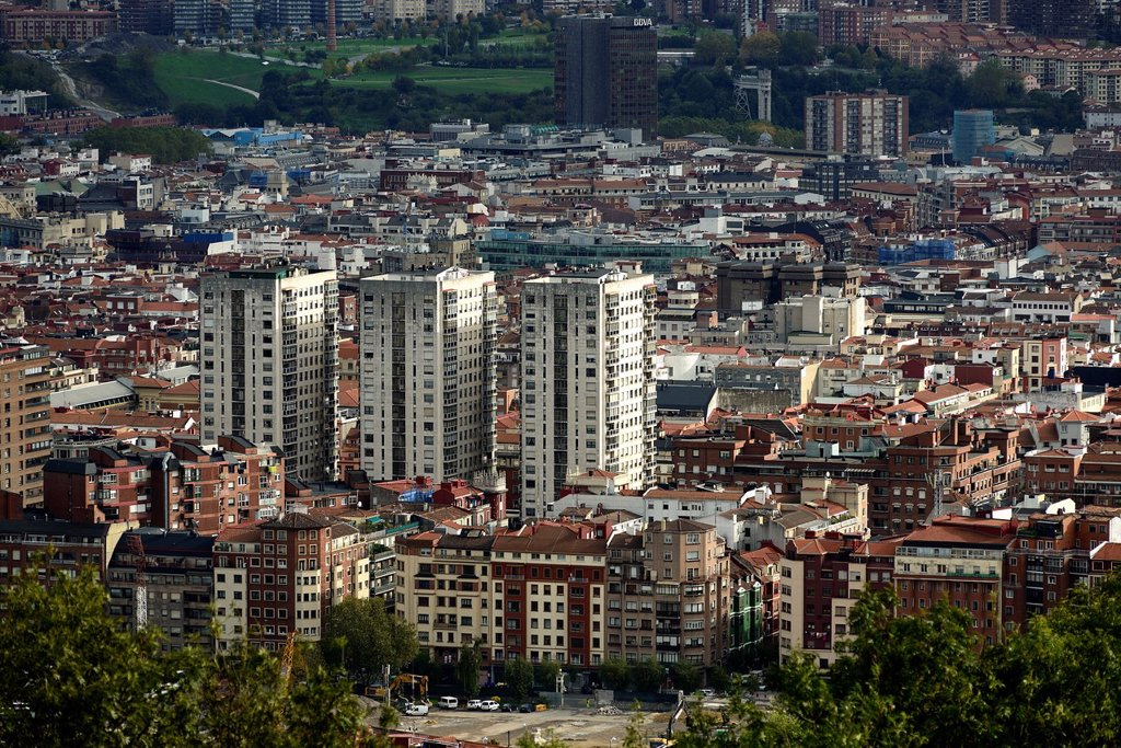 Aereal view of Bilbao City, Biscay, Basque Country, Spain : Stock Photo