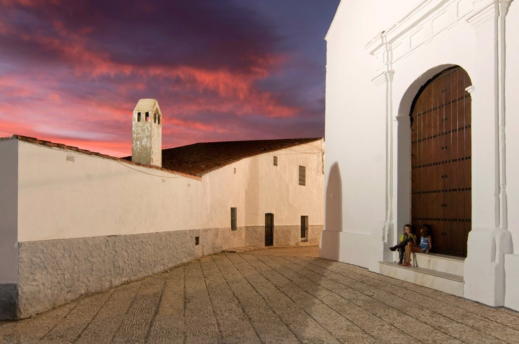 Church and square, La Granada de Riotinto, Huelva-province, Spain : Stock Photo
