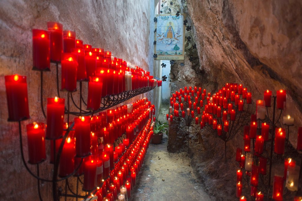 Stock Photo: 1566-1190104 Burning candles in honor of the Virgen del Castell de Agres, Alicante, Spain, Europe
