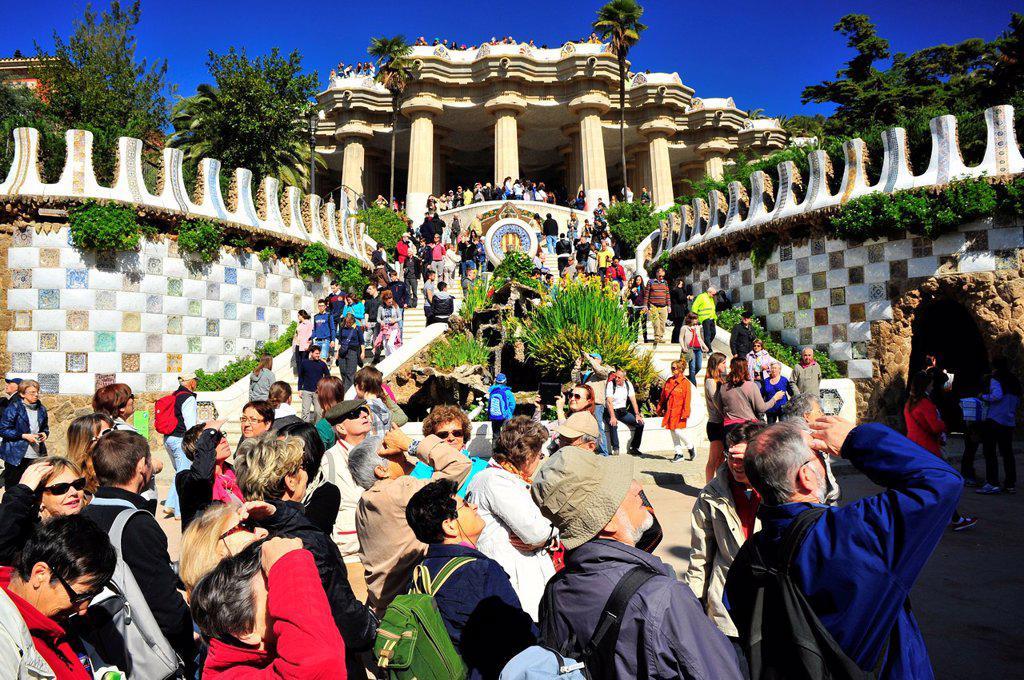 Main entrance to Guell Park, Guell Park, Antoni Gaudi i Cornet twentieth century, Barcelona, Catalonia, Spain : Stock Photo