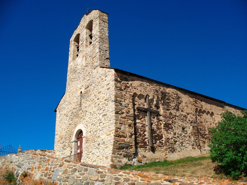 Stock Photo: 1566-1190580 Romanesque church of Réal, Languedoc-Roussillon, Eastern Pyrenees, France.