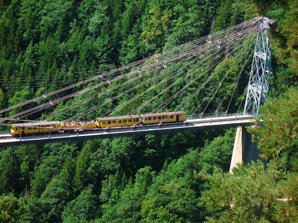 Train Jaune, Languedoc-Roussillon, Eastern Pyrenees, France. : Stock Photo