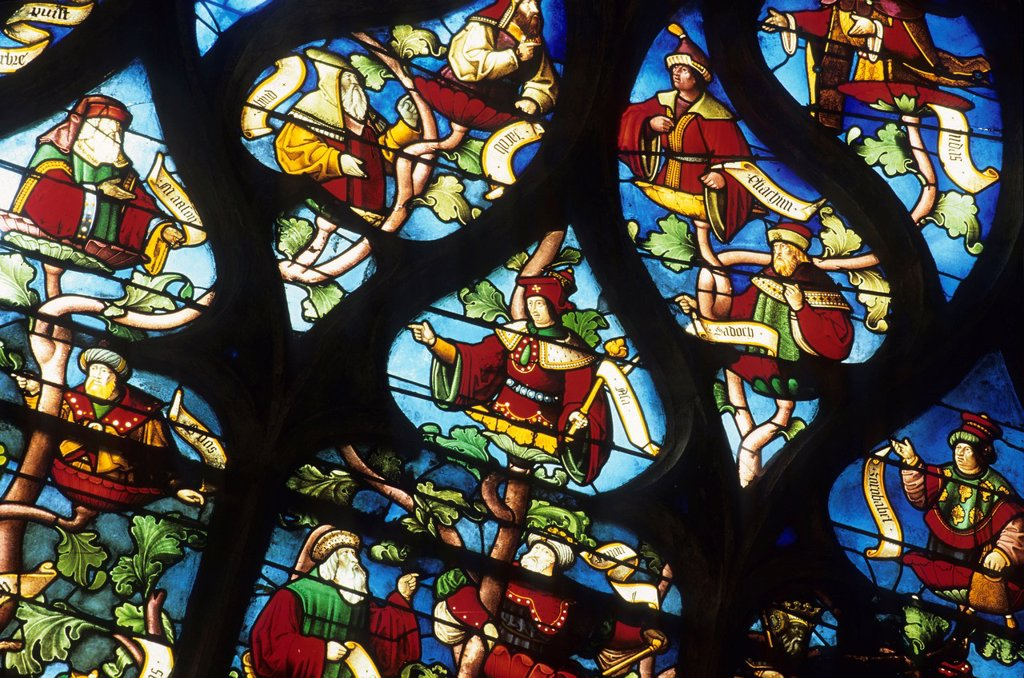 Tree of Jesse stained glass window of Ste Madeleine church, Troyes, Aube department, Champagne-Ardenne region, France, Europe : Stock Photo
