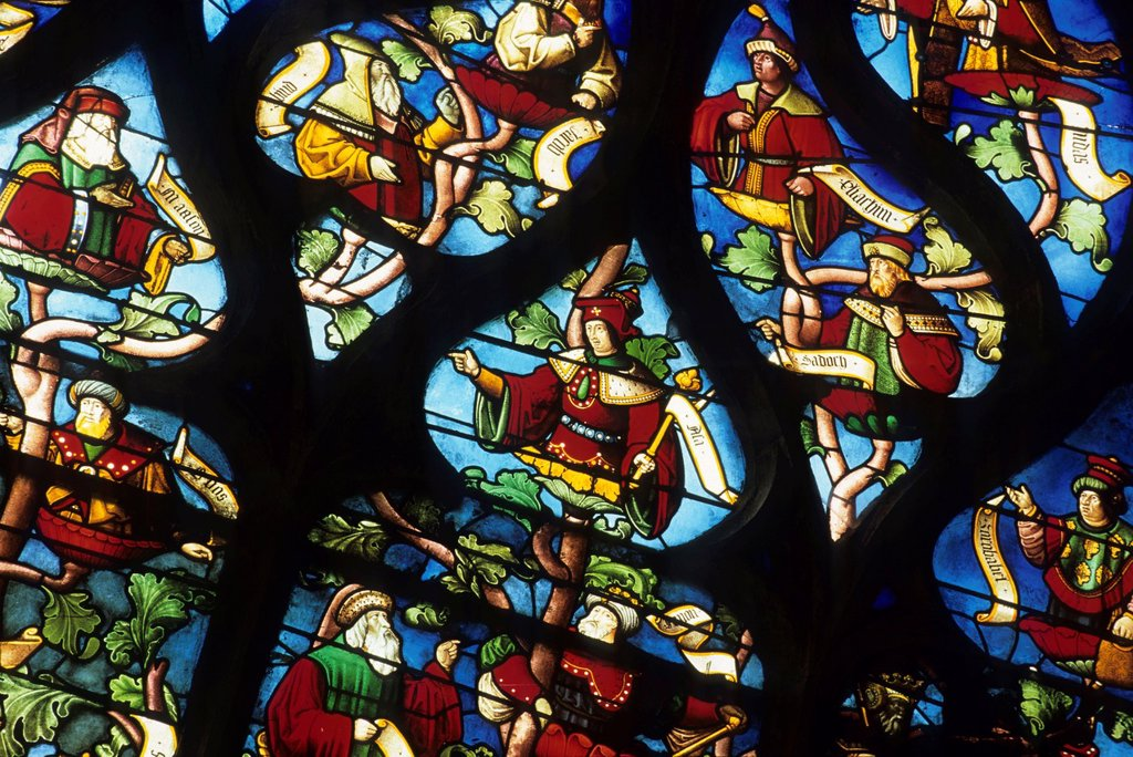 Stock Photo: 1566-1191358 Tree of Jesse stained glass window of Ste Madeleine church, Troyes, Aube department, Champagne-Ardenne region, France, Europe