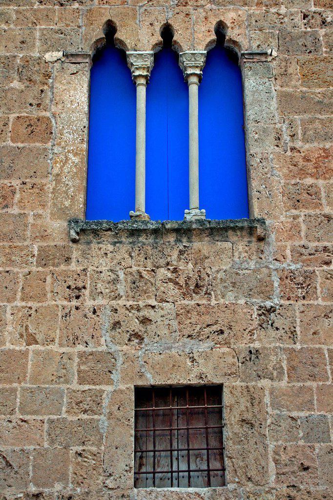 Stock Photo: 1566-1191406 Gothic windows, Casal dels Marquesos of Llió, gothic mansion, Sant Pere de Riudebitlles, Catalonia, Spain