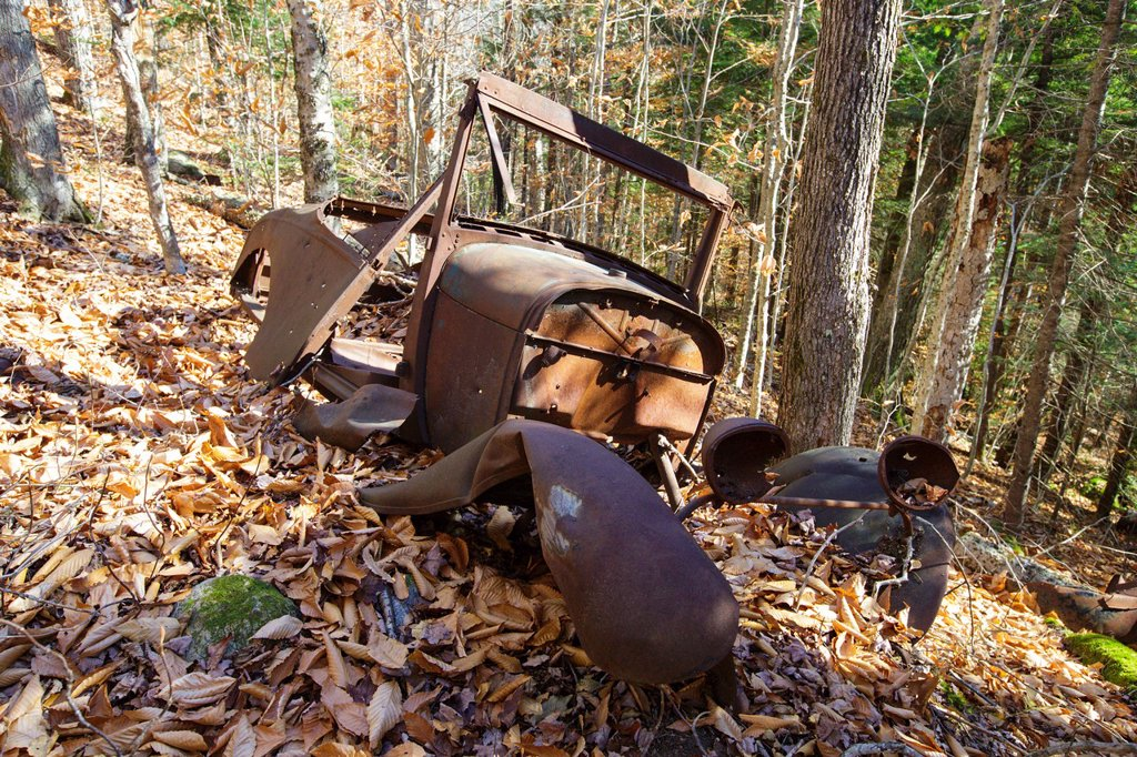 Stock Photo: 1566-1191768 Rusted car in the Eastman Brook drainage of Thornton, New Hampshire USA