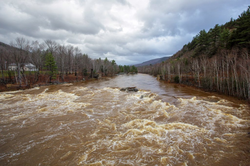 The Pemigewasset River in Woodstock, New Hampshire USA after hours of heavy rains and strong winds from Hurricane Sandy  Hurricane Sandy caused massive destruction along the east coast : Stock Photo