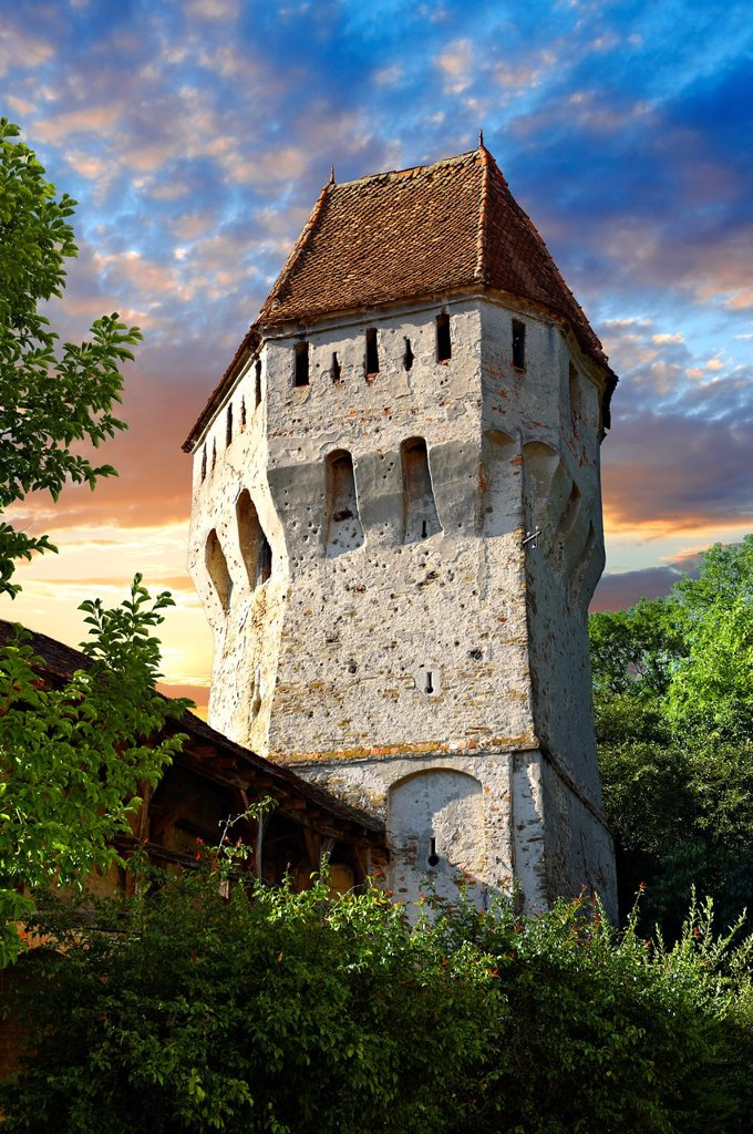 Stock Photo: 1566-1191809 Defensive tower of Sighisoara Saxon fortified medieval citadel, Transylvania, Romania