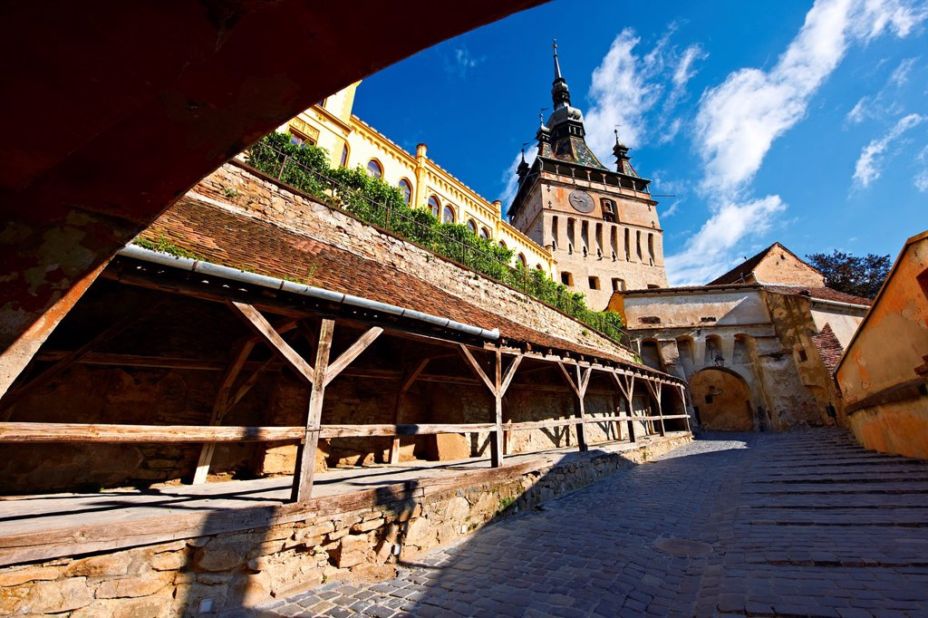 Medieval clock tower & gate of Sighisoara Saxon fortified medieval citadel, Transylvania, Romania : Stock Photo