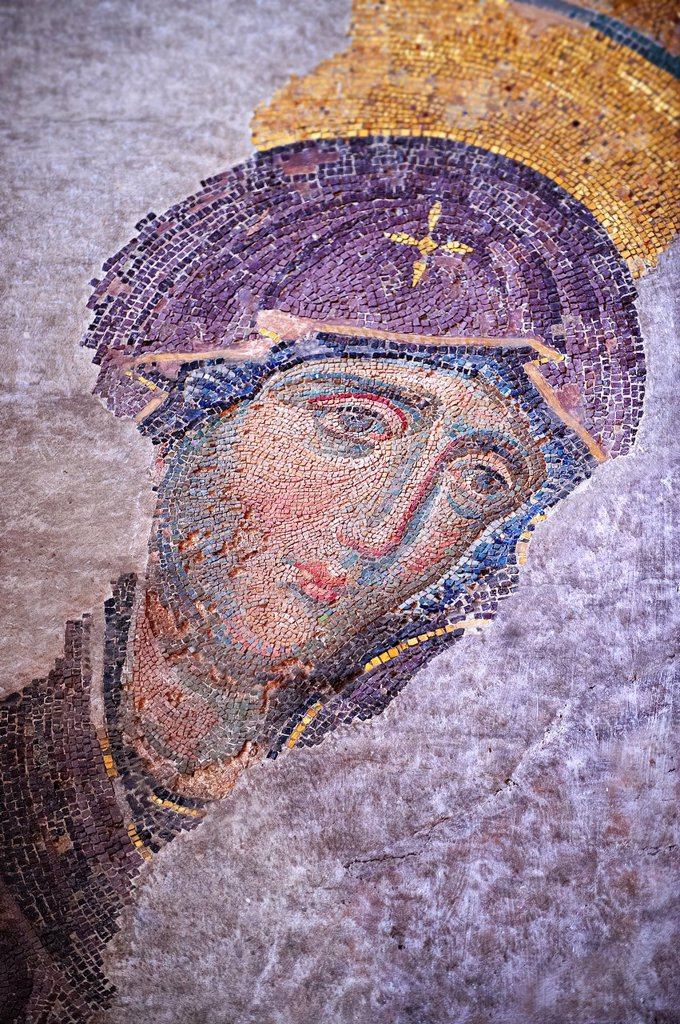 Stock Photo: 1566-1192137 Byzantine Deësis  Entreaty mosaic , 1261, in which John The Virgin Mary shown in three-quarters profile, are imploring the intercession of Christ Pantocrator for humanity on Judgment Day  Hagia Sophia, Istanbul, Turkey