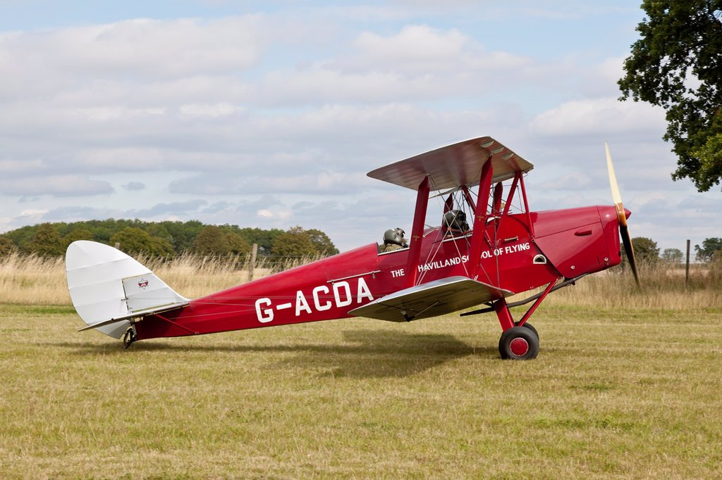 Stock Photo: 1566-1192240 De Havilland DH-82A Tiger Moth II, reg G-ACDA, at Belvoir Castle