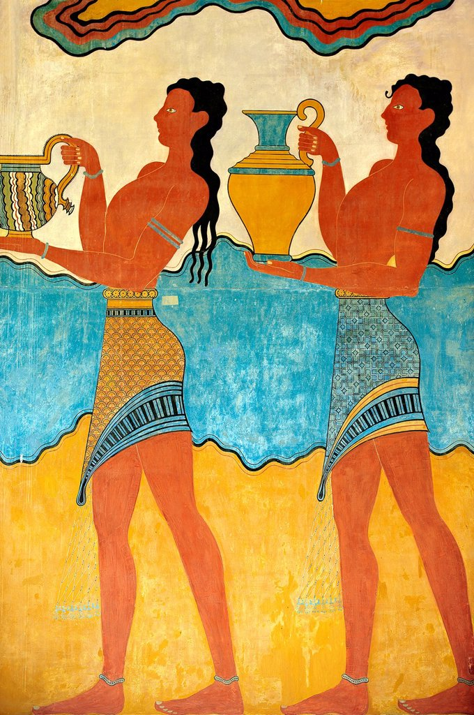 Stock Photo: 1566-1192395 Arthur Evans reconstruction of Procession Frescos of the South Propylaeum of Knossos Minoan archaeological site, Crete