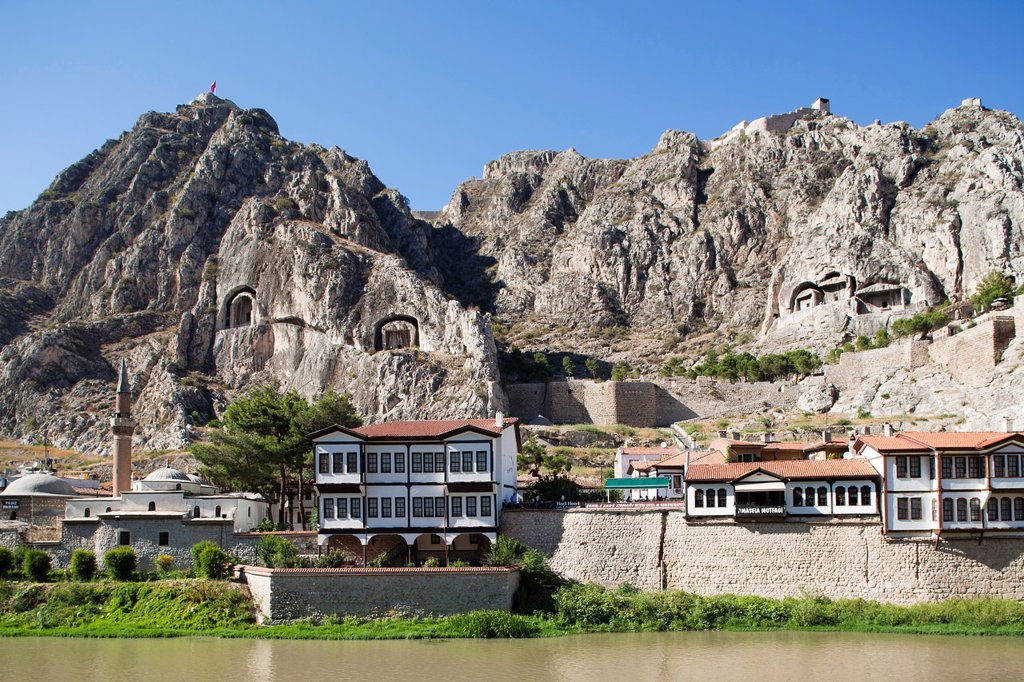 Stock Photo: 1566-1192846 view with tombs of the kings, hatuniye mosque and citadel, amasya, anatolia, turkey, asia