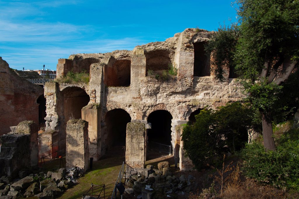 Anfiteatro Flavius amphitheatre Pozzuoli the ancient Puteoli in Campi Flegrei area La Campania region southern Italy Europe : Stock Photo