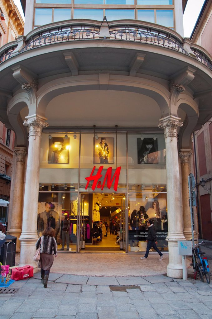 Stock Photo: 1566-1193347 H&M fashion clothing chain shop along Via dell´Indipendenza street central Bologna city Emilia-Romagna region northern Italy Europe