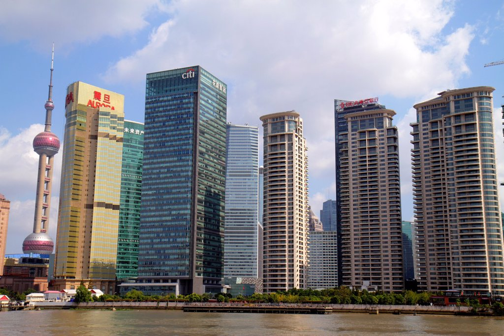China, Shanghai, Huangpu River, Pudong Xin Qu Lujiazui Financial District, Jinling East Road Dongchang Road Ferry, view from, city skyline, skyscrapers, Oriental Pear Tower, Citigroup Tower, Aurora Plaza, waterfront, : Stock Photo