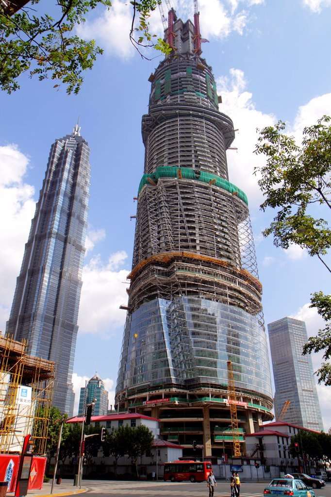 Stock Photo: 1566-1193502 China, Shanghai, Pudong Xin Qu Lujiazui Financial District, Lujiazui Ring Road, Shanghai Tower construction, supertall skyscraper, economic development, Jin Mao Tower,