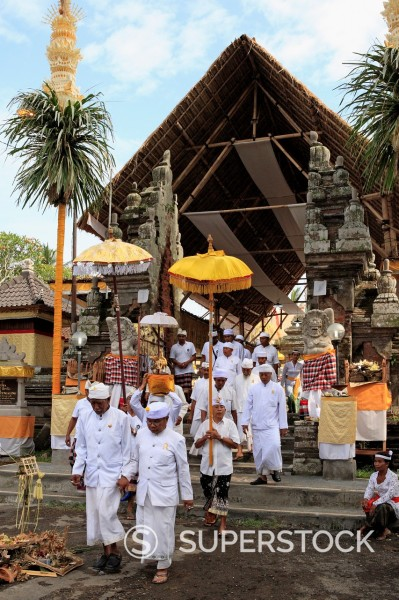 A procession of Priests, Pura Dalem Tengaling Temple at Pejeng  Near Ubud, Bali, Indonesia : Stock Photo