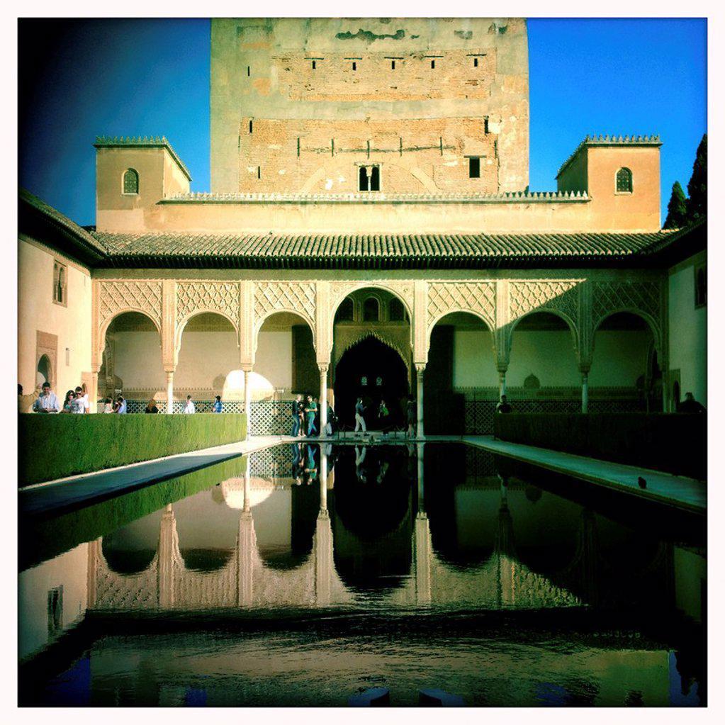 Stock Photo: 1566-1194161 Torre de Comares and Patio de los Arrayanes, Alhambra, Granada, Spain
