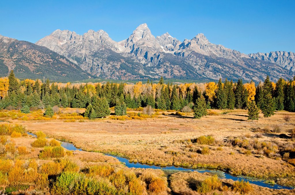 Stock Photo: 1566-1194383 Sunrise on Grand Teton at Blacktail Ponds in Grand Teton National Park in northern Wyoming