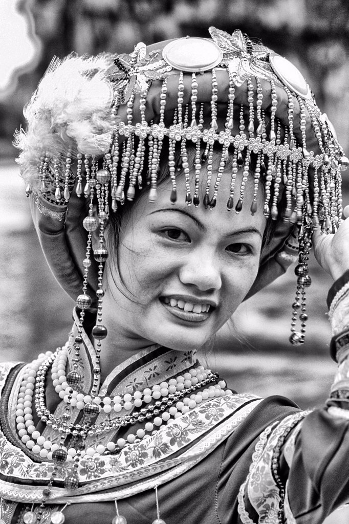 Local woman in traditional costume portrait of beautiful lady in Guilin area of China : Stock Photo