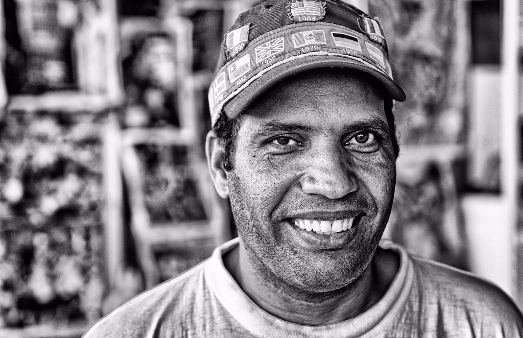 Stock Photo: 1566-1194737 Colorful portrait of local man with no hearing in Havana Habana Cuba