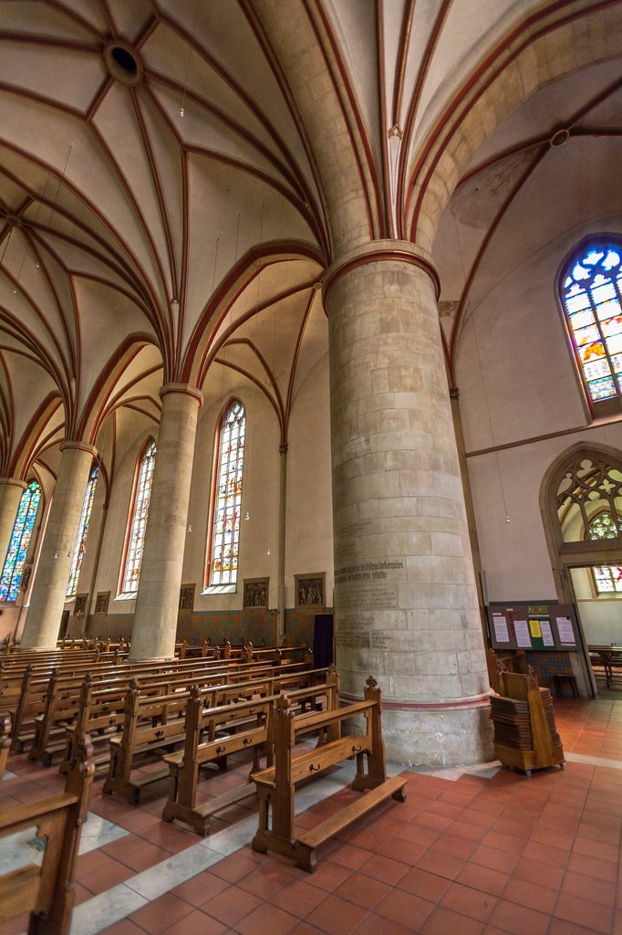 Inside the historic St Felizitas cathedral in Luedinghausen, North Rhine-Westphalia, Germany, Europe : Stock Photo